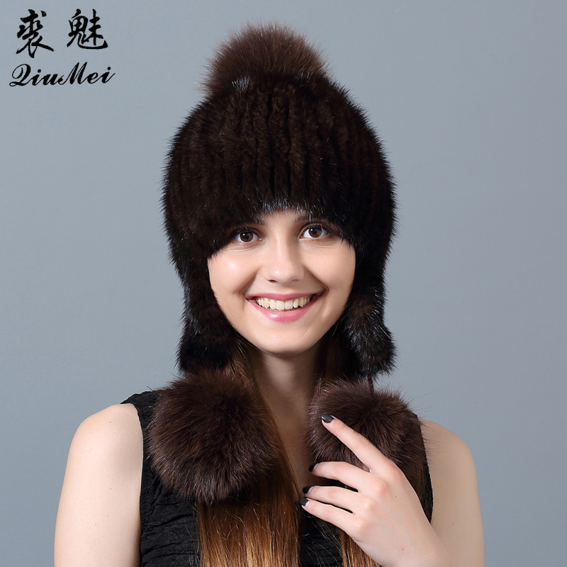 QiuMei Fox Fur Pompom Hat for Women Winter Female Hats Genuine Fur Lined Beanies Natural Mink Fur Beanie Knitted Fur Hat Women winter mink hat for women genuine fox fur pompom hats for women winter cable knitted cap female real mink fur skullies & beanies