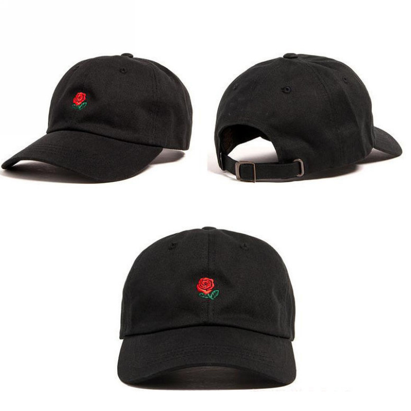 Rose Embroidered Floral Unisex Adjustable Curved Brim Cap Baseball Hat Casual