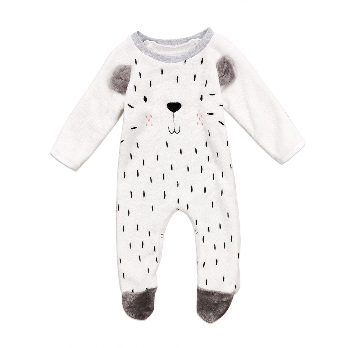 Cute Infant Toddler Kids Baby Boys Girl Winter Warm Soft Romper Tops Cotton Fur Bear Print Long Sleeve Rompers Jumpsuit Clothes