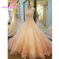 Robe De Mariage New Pink Ball Gown Wedding Dress 2017 Scoop Neck Lace Up Back Appliques