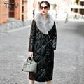 2017 Новые женские Кожаные пальто Утка Вниз Природа Норки С Капюшоном Натуральной Овчины Длинная Черная кожаная куртка 1611B