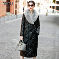 2017 New Women's Leather coats Duck Down Nature Mink Hooded Genuine Sheepskin Long Design Black leather jacket 1611B