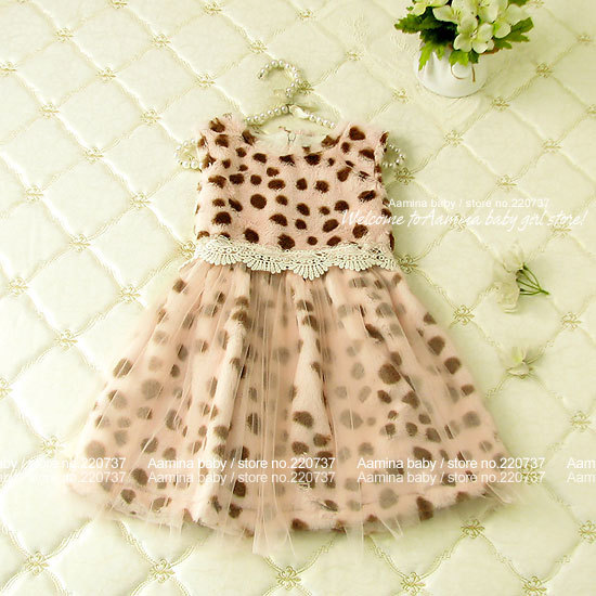 [Aamina] Winter Leopard princess kids dresses for girls,wholesale children clothing,baby girl clothes,5pcs/lot(p2701311),2-6 y