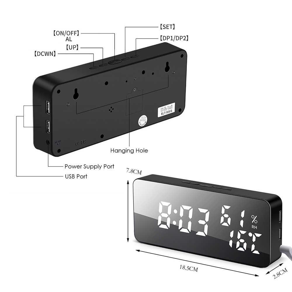 Home Digital Alarm Clock LED Mirror Alarm Clock Multifunction Snooze Clocks Electronic Time Temperature Calendar Display Clocks