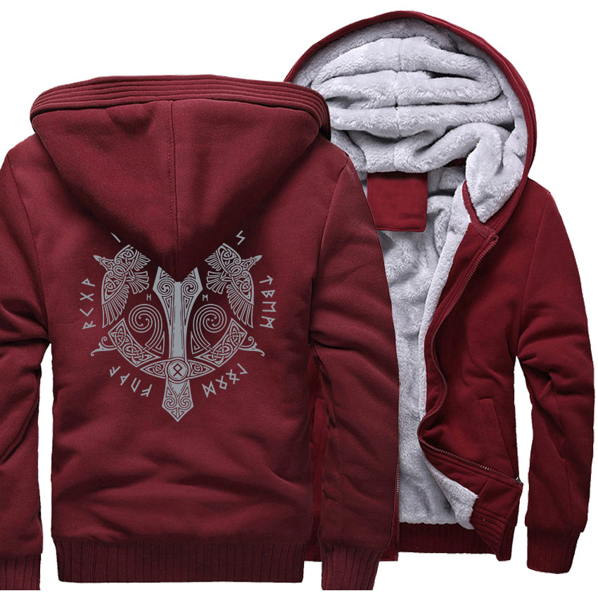 VIKINGS Sweatshirt For Men 2018 Autumn Winter Thick Zipper Hoodies Hipster Harajuku Men's Jacket Hooded Sweatshirts Coats Hoody