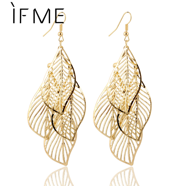 10bc228f4043 IF ME Fashion Hollow Flower Leaf Gold Color Leaf Long Earrings Pendientes  Mujer Jewelry Tassel Long Earrings For Women