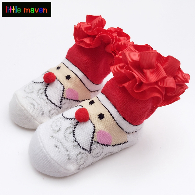 Cute Santas Claus Socks with Lace Floral Baby Girl Boy Sock for Christmas Gifts Meia antiderrapante For the newborn