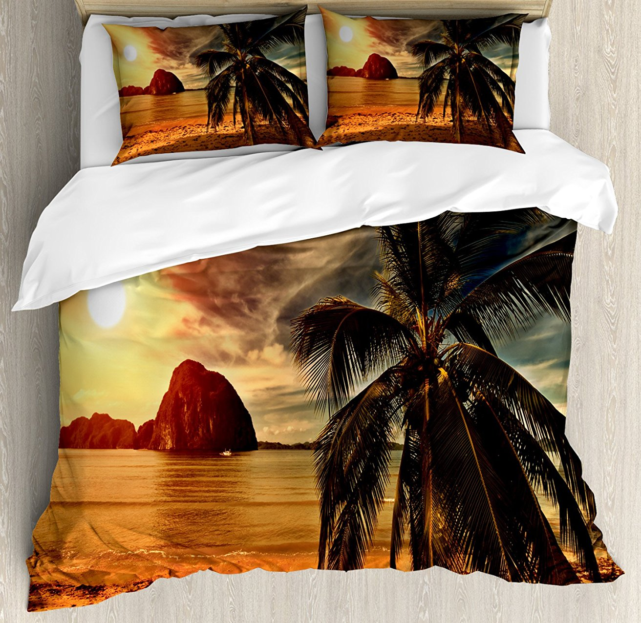 Tropical Housse de couette, exotique Plage avec Cocotier Arbre et Horizon Coucher Du Soleil Calme Panorama, 4 Pièce Ensemble de Literie