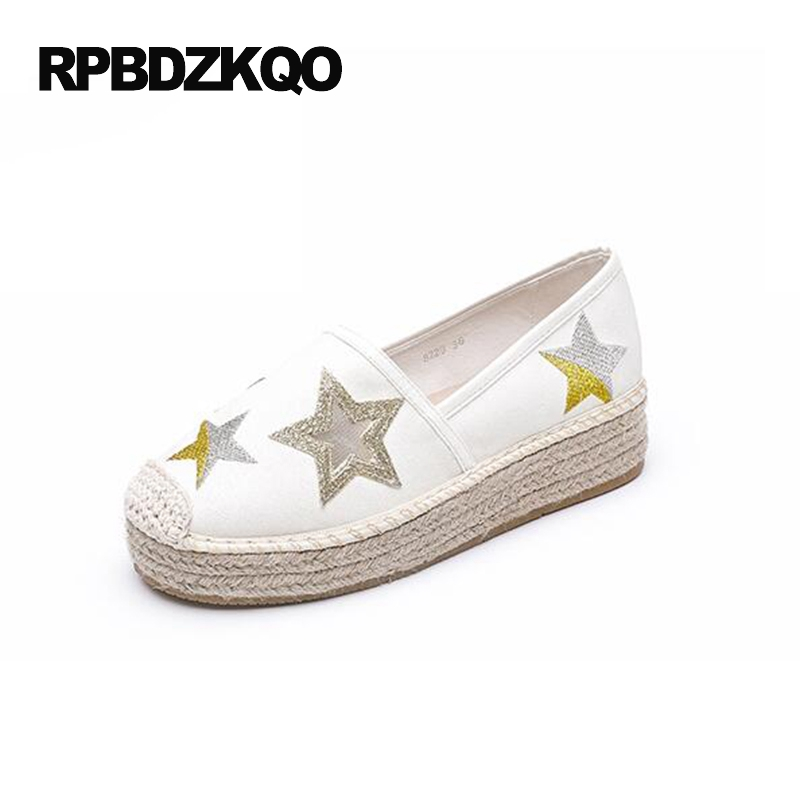 Flats Round Toe Applique Casual Elevator Creepers Platform Shoes Thick Sole Women Muffin White Espadrilles Hemp Fashion Latest