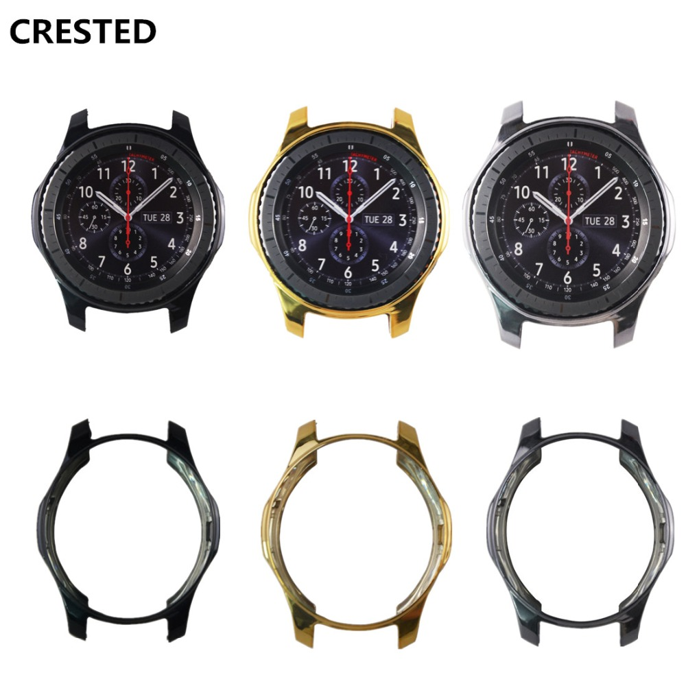 все цены на CRESTED TPU Protector Case For Samsung Gear S3 Frontier frame shell electroplated replacement Colorful Protective Cover онлайн