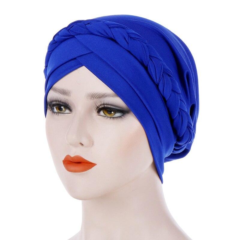 Classic Muslim Hat Solid Color Braid Turban Cap Women Elasticity Cotton Bandanas Female   Headwear   Hair Accessories Headscarf