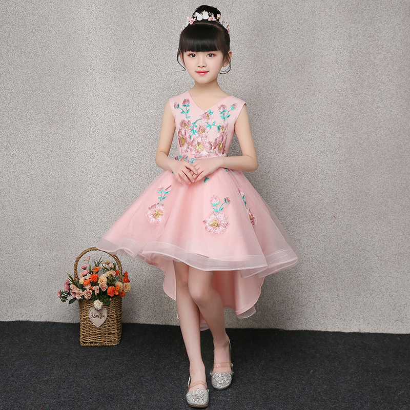 Short Front Back Long Princess Dress V-neck Embroidery Ball Gown First Communion Dresses Tulle Girl's Summer Flower Dress E264 summer embroidery ruffled round neck dress loose robe dress