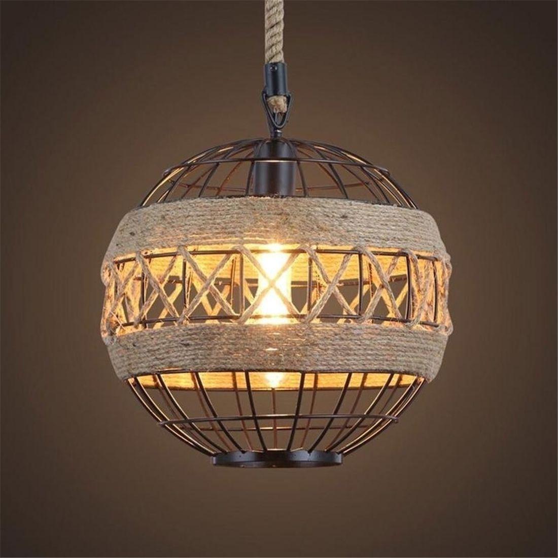 E27 Led light retro rope industrial wind chandelier for Internet cafe restaurant cafe bar ball personalized lamp european rural bird marble hemp rope chandelier cafe restaurant corridor balcony chandelier size 33 38cm e27 ac110 240v