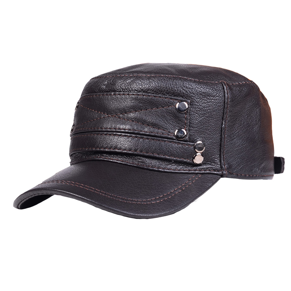New Unisex Men/'s Women/'s Beret Hat Navy cap Army Cap 100/% Genuine Leather