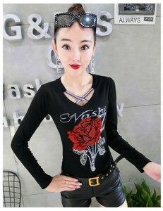 Image 3 - Korean Fashion V Neck Diamonds Rose Tshirt 2019 New Autumn Winter Women Top Clothes Slim Shirt Camiseta Mujer Streetwear T97616