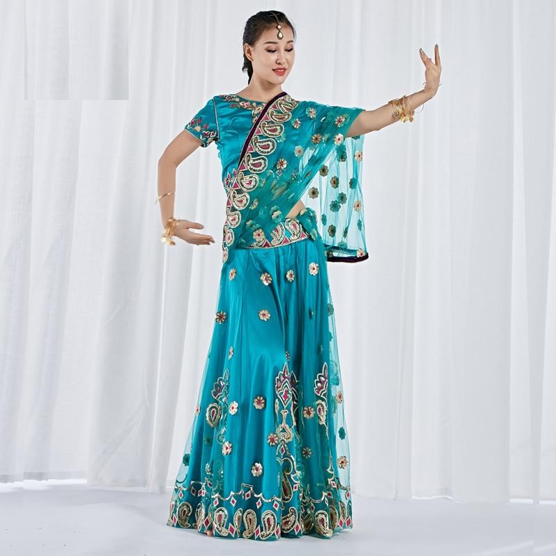 Живота одежда для танцев, сценический костюм живота Одежда для танцев индийский танец вышитые костюм Болливуд 3 шт. комплект (топ, юбка и Сар