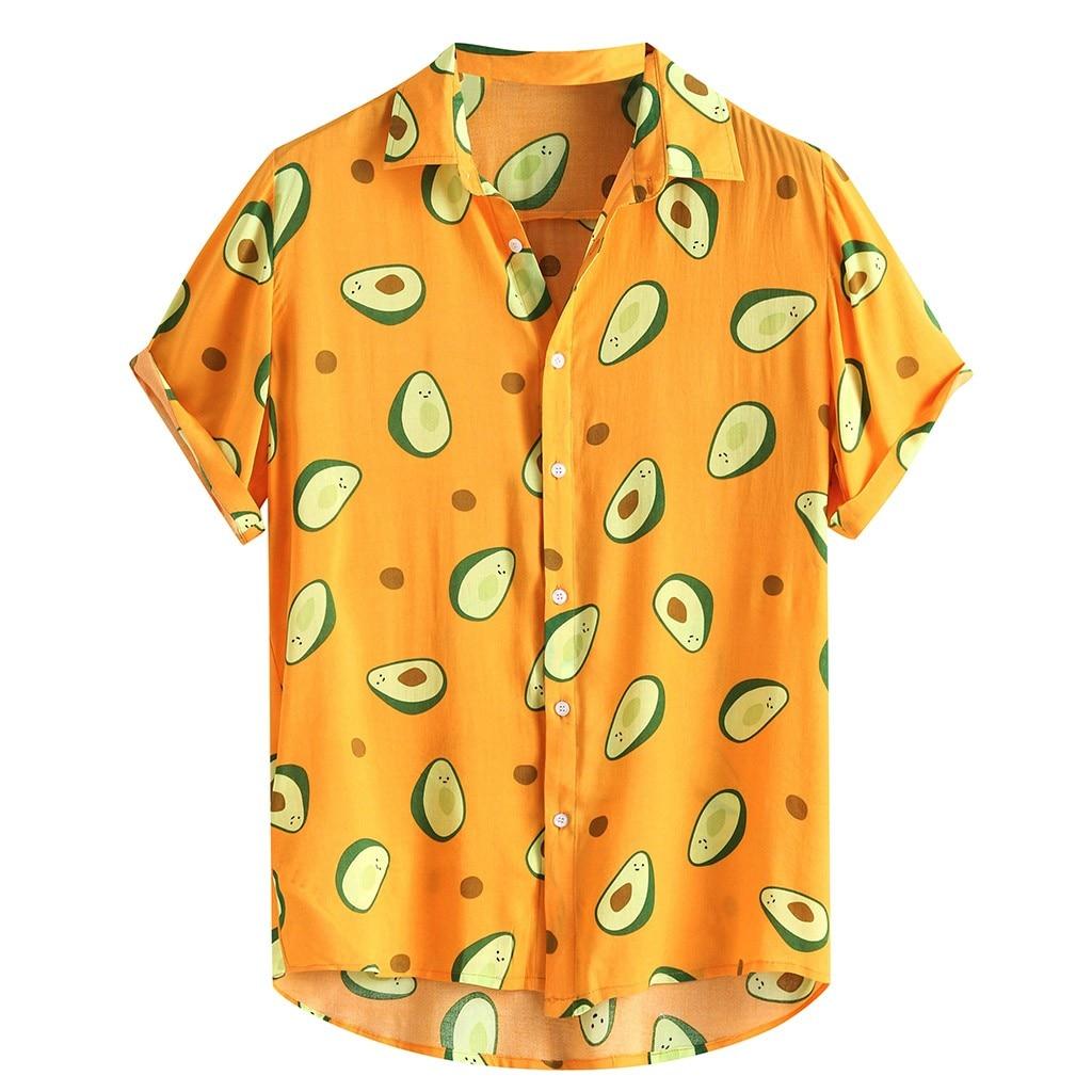 Mens Avocado Printed Turn Down Collar  Cotton Shirts  2