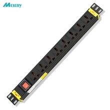 1U PDU güç şeridi Network dolabı raf priz 16A alüminyum alaşım 8 yollu evrensel prizler anahtarı ile 5m uzatma kablosu