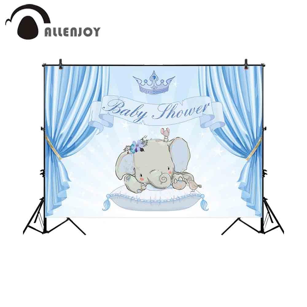 Allenjoy Camera Fotografica Backdrop Glitter Stars Blue Curtain Boy Baby Shower Elephant Newborn Crown Background Photography Background Aliexpress