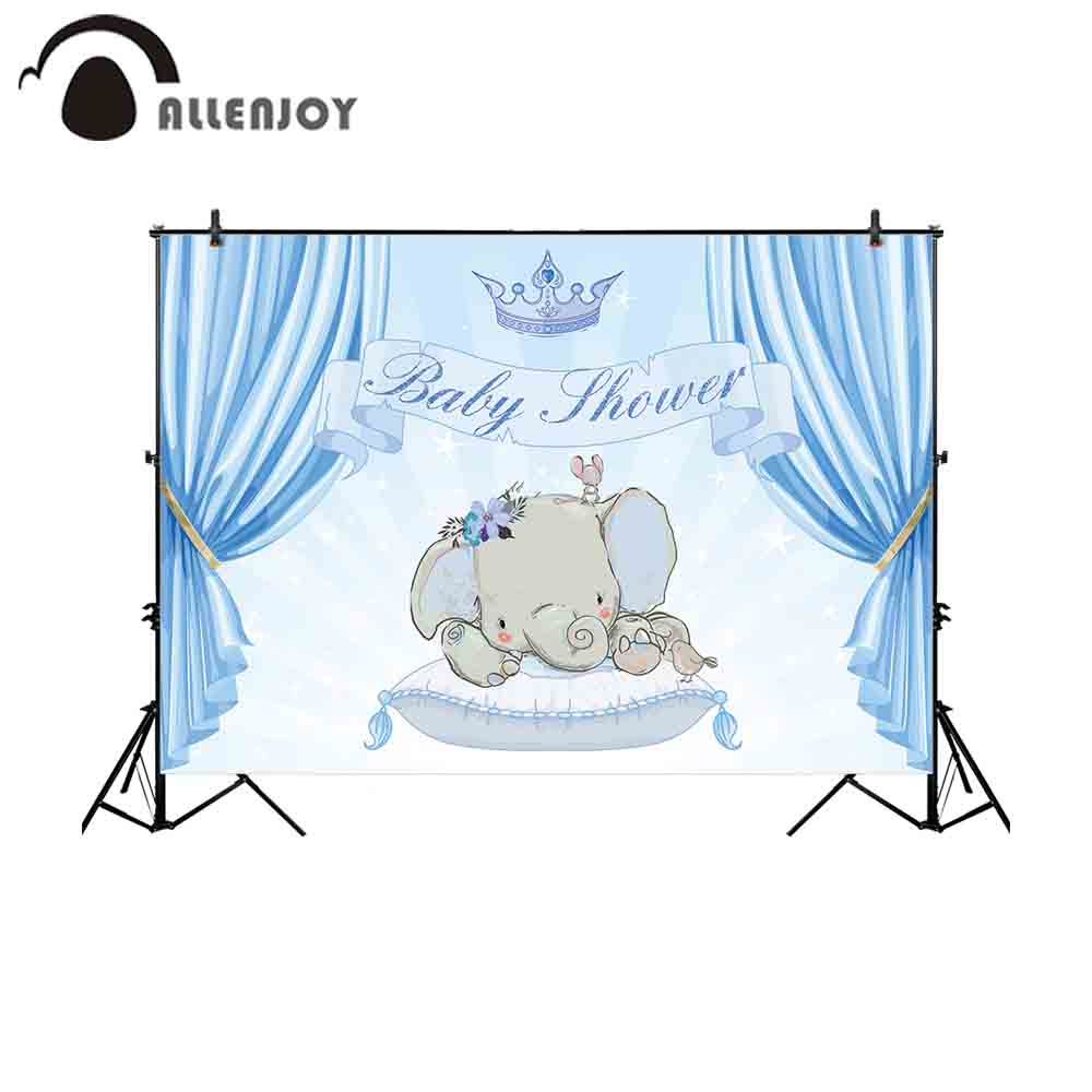 Allenjoy camera fotografica <font><b>backdrop</b></font> glitter stars blue curtain <font><b>boy</b></font> <font><b>baby</b></font> <font><b>shower</b></font> elephant newborn crown background photography image