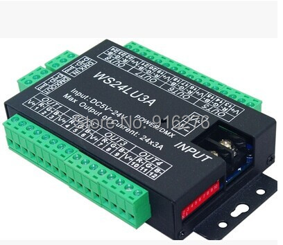 Free Shipping 24 channel DMX 512 RGB LED controller;24 channel DMX decoder& driver, Newest , Wholesale free shipping 12v 24v 1ch 10a dmx decoder 240w driver rgb controller de 8031