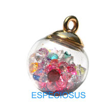 5pcs Jewelry Finds Magic Ball Glass Beads Mix Color Crystal Charms Transparent Pendant Rhinestone Round Beads Earring Accessory(China)
