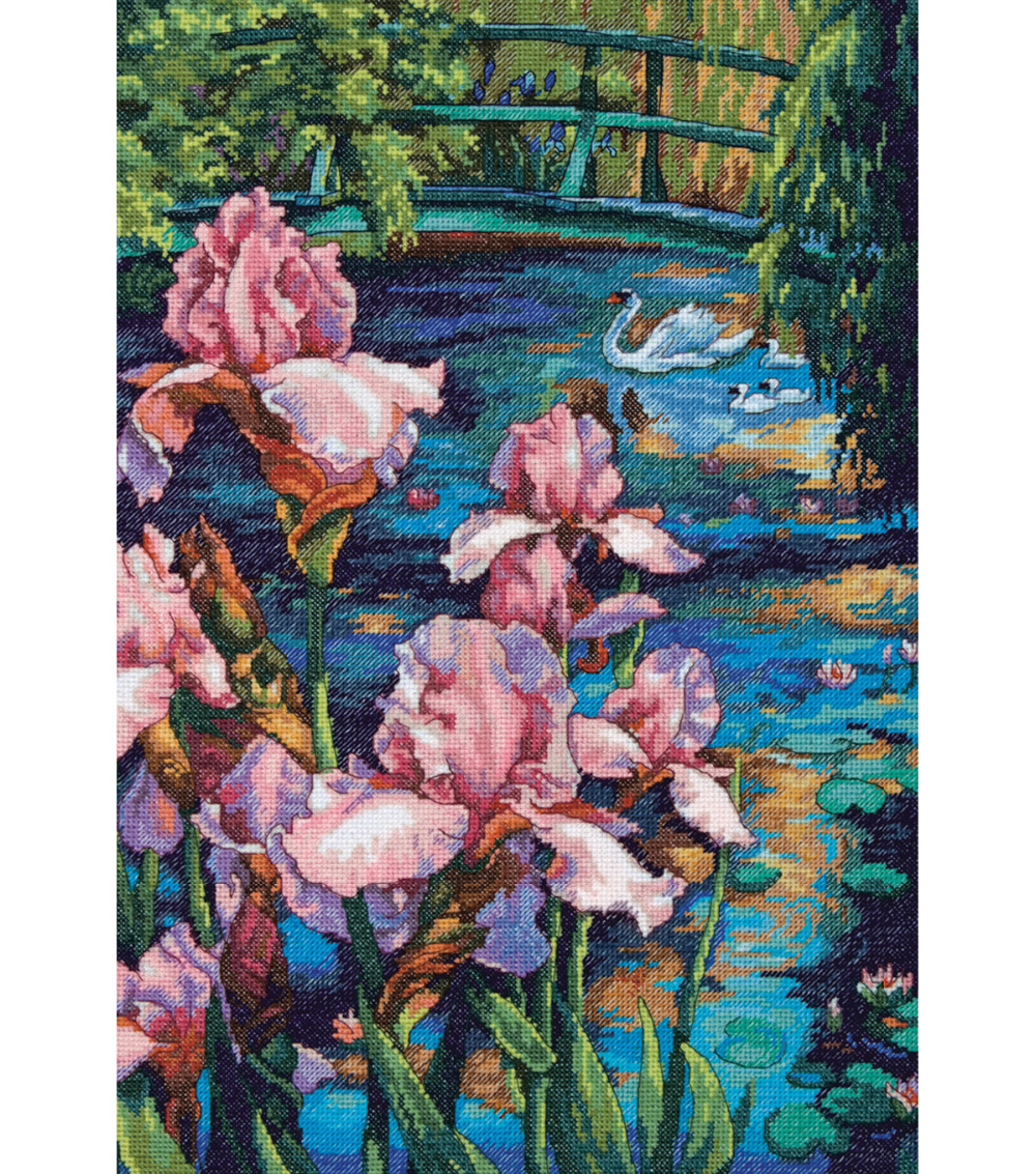 Gold Collection Counted Cross Stitch Kit Iris And Swan In The Lake Pond Flower Dim 70-35264 35264 39x53cm, 14CT