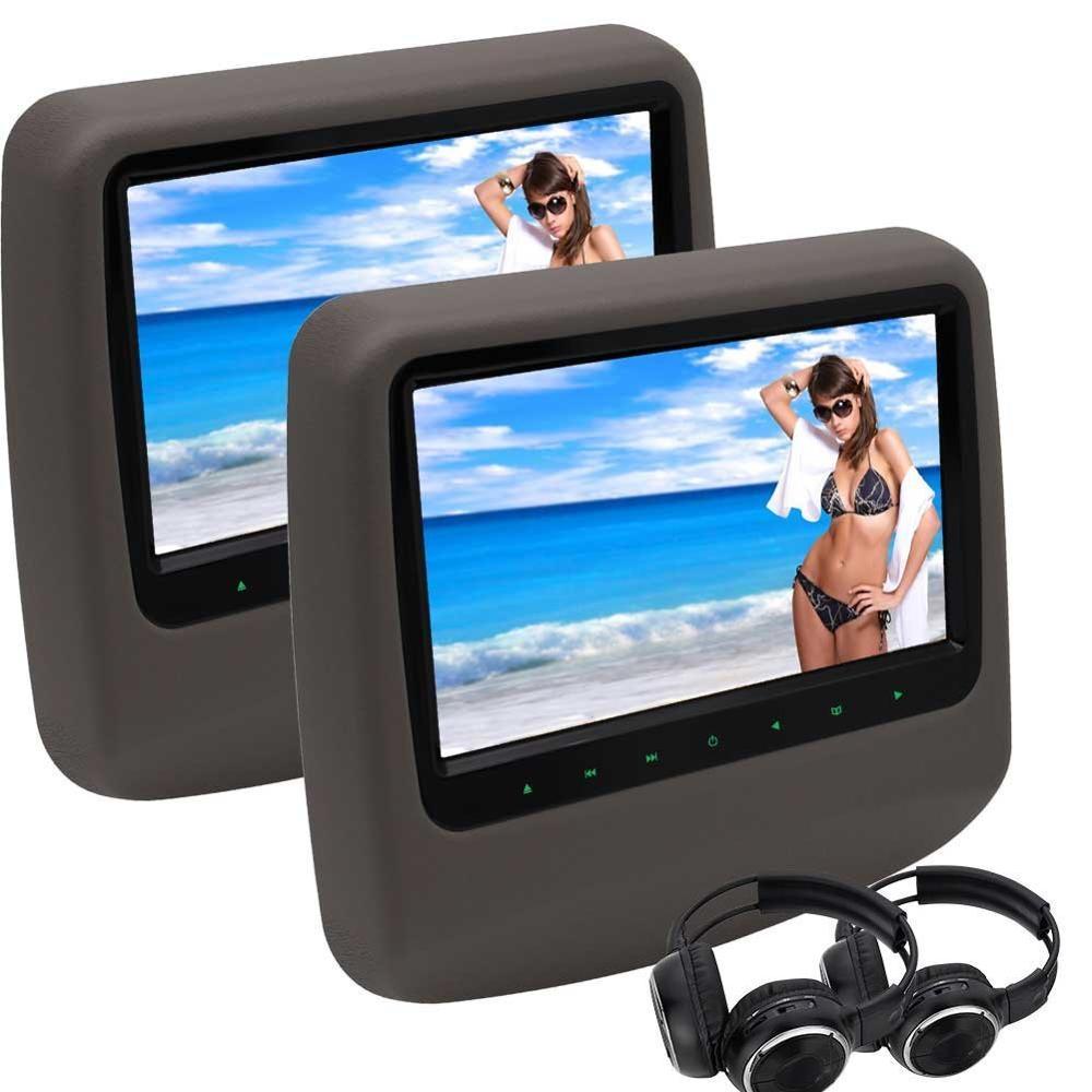 free 2x Headphones 9'' Twin Screen DVD Player Portable Car Headrest Monitor HDMI Port USB/SD Input IR/FM/Speaker+Remote Control