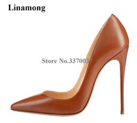Linamong Brand Fashion Women Pointed Toe Leather Stiletto Heel Pumps Classical Style 12cm High Heels Formal Dress Shoes