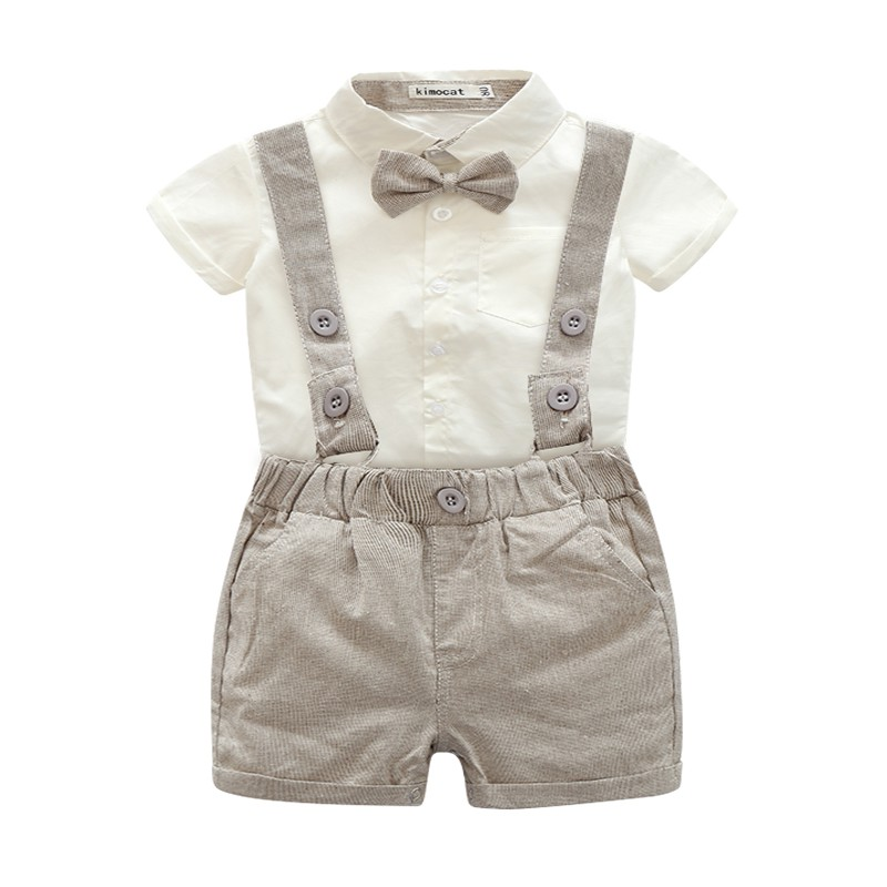 Spring Summer Style Newborn Kids Baby Boys Short Sleeve T-shirt Tops + Bib Pants 2PCS Outfits Set