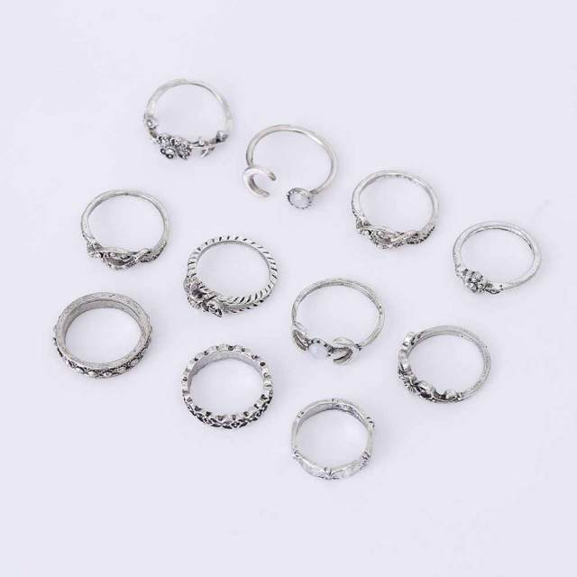 11Pcs/Set Boho Vintage Punk Antique Flower Carved Midi Finger Rings