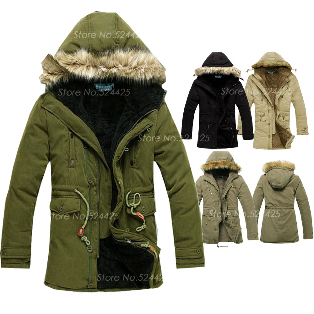Men's Fashion Hooded Parka Jacket 2015 WINTER WARM Plus fur collar Outdoor Trench Coat Army green military man Long jackets XXL - Fashionable Men store