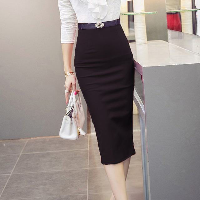 799dfdcabe High Waist Office Formal Pencil Skirt Plus Size Tight Bodycon Fashion Women  Midi Skirt Black Slit Office Lady slim pencil Skirts