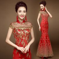 Evening Dress Robe De Soiree Longue Sexy Backless Red Lace Long Sparkle Dress Elegant Sequin Mermaid