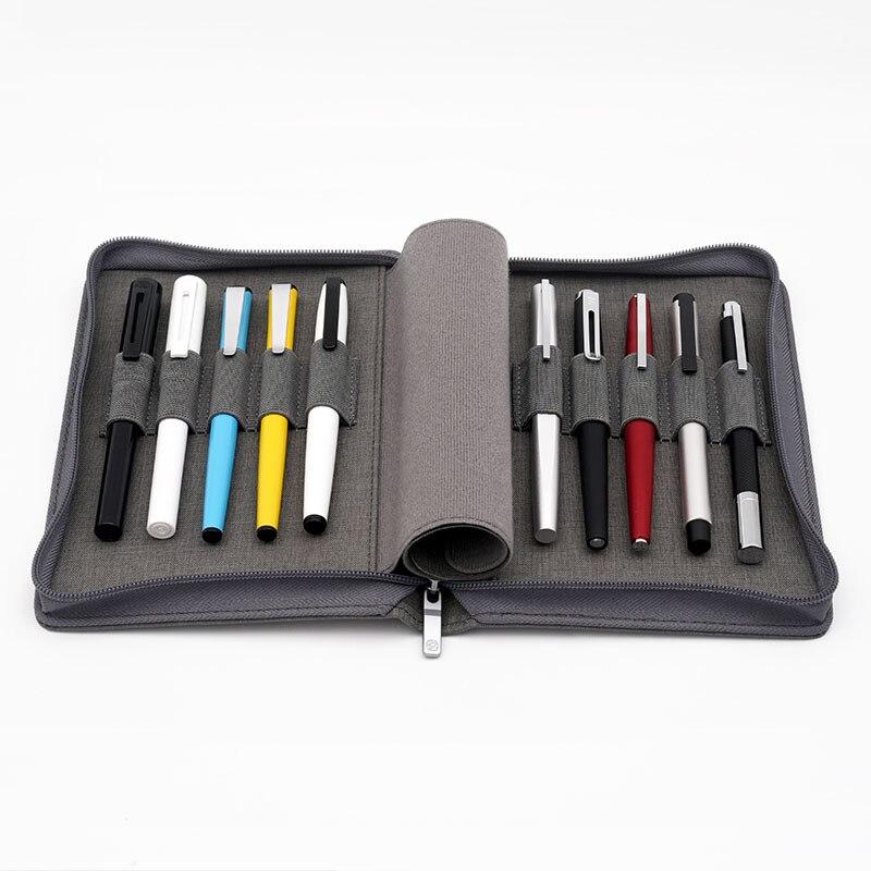 KACO Pen Pouch Pen Case Bag for Fountain Pen / Rollerball Pencil Case Available for 10 Pens - Black / Gray Storage WaterproofKACO Pen Pouch Pen Case Bag for Fountain Pen / Rollerball Pencil Case Available for 10 Pens - Black / Gray Storage Waterproof