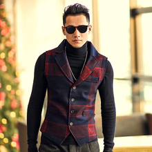 2017 Men autumn red and Blue Plaid woolen vest metrosexual man's slim European style fashion brand clothing waistcoats men vests(China)