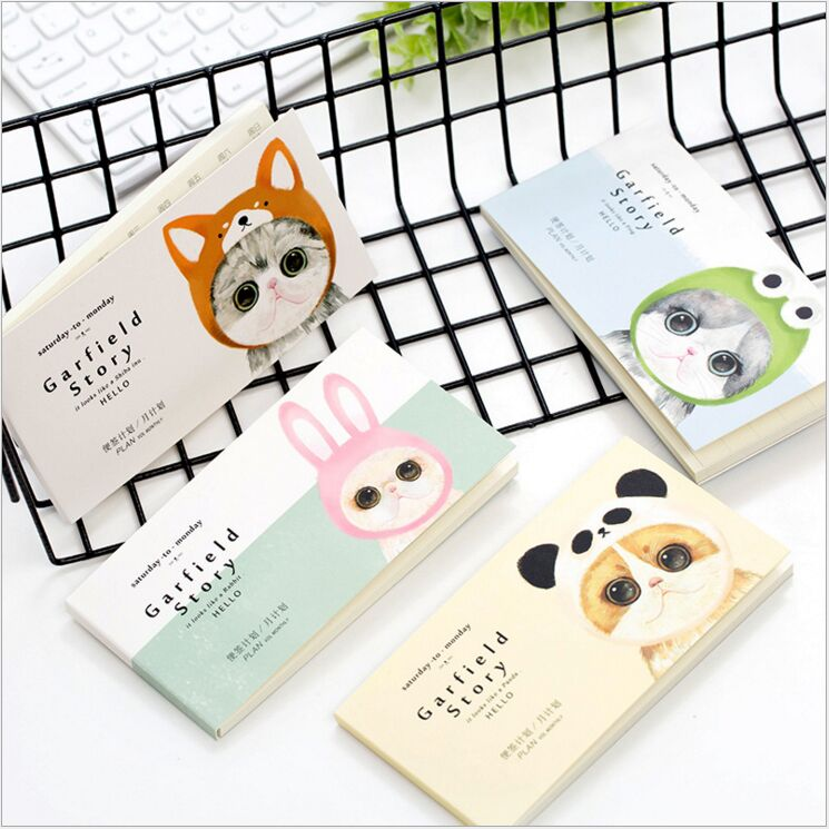 Cute Shape Garfield Cat Story monthly weekly plan notebook Traveling notepad Learning Planning Agenda organizer planner Escolar