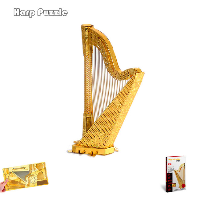 Buy A Harp >> Us 16 7 Aliexpress Com Buy Piececool 3d Metal Puzzle Diy Assembly Model Of Harp Plucked Instruments 3d Jigsaw For Children Gift Home Furnishing