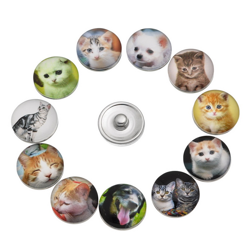 10Pcs Mixed Cat Dog Patterns Round Click Snap Press Buttons DIY Crafts Making 18mm image