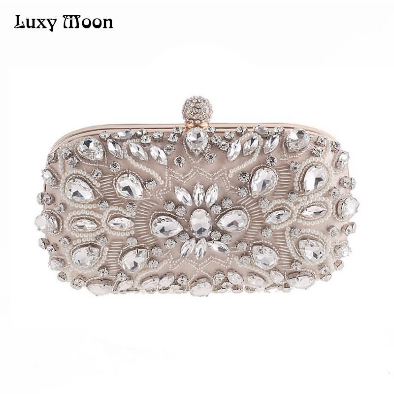 Luxy Moon Evening Bags Diamond Rhinestone Pearls Beaded Wedding Clutch Women's Purse Handbags Wallets Evening Clutch Bag bolsa luxy moon bling crystal clutch purse rhinestones evening bag for women jewelry hard case handbags bridesmaid shoulder bags zd799