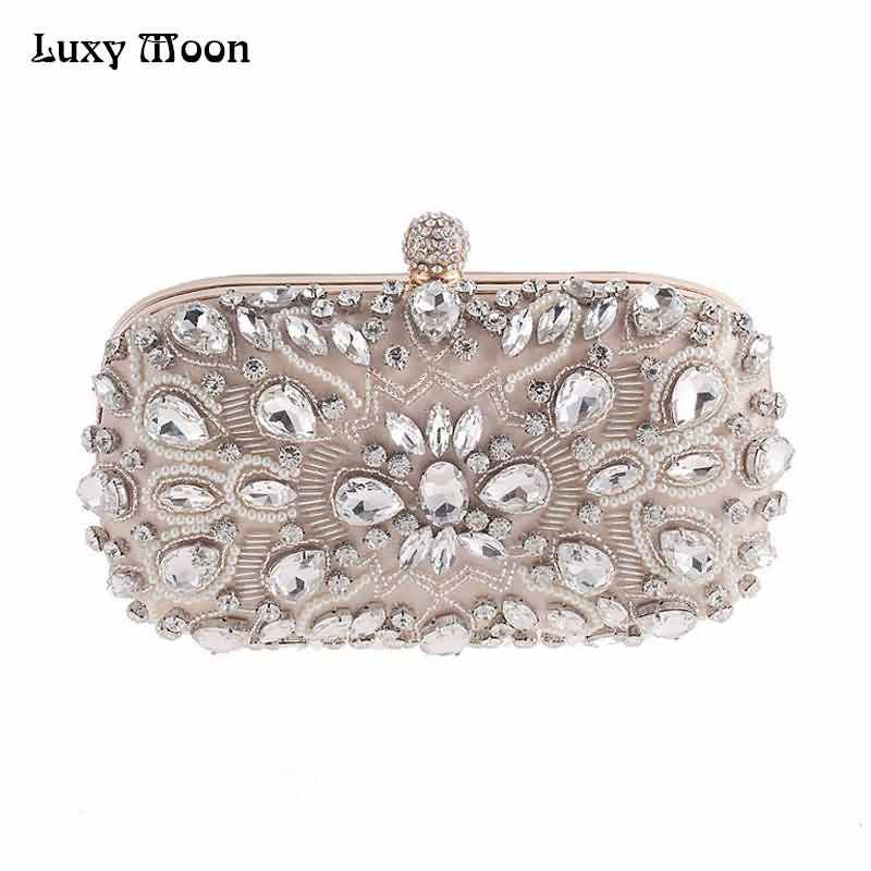 Luxy Moon Evening Bags Diamond Rhinestone Pearls Beaded Wedding Clutch  Women s Purse Handbags Wallets Evening Clutch c9ca36e72ed3