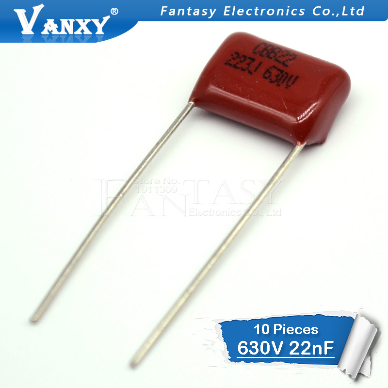 10PCS 630V223J 22NF Pitch 10MM 223 630V 0.022uF CBB Polypropylene Film Capacitor