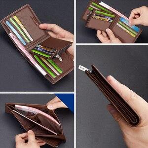 Image 4 - LAORENTOU עור ארנקים גברים עור אמיתי גברים של קצר ארנק עם רוכסן כיס Mens סטנדרטי ארנק מחזיקי כרטיס אשראי