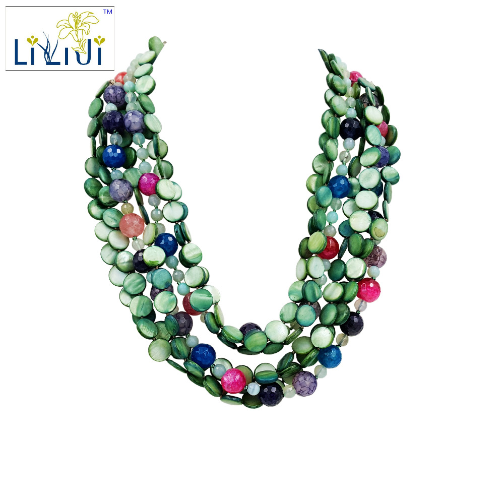 Lii Ji Green Color Shell Color Agate Jade Toggle Clasp 7 strands Necklace about 50cm