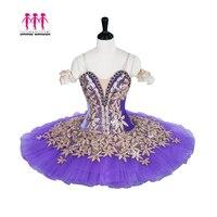 Взрослый профессиональная балетная пачка фиолетовый золотой фея кукла блин Peformance пачка балетное платье драгоценные камни Балетные Сценич