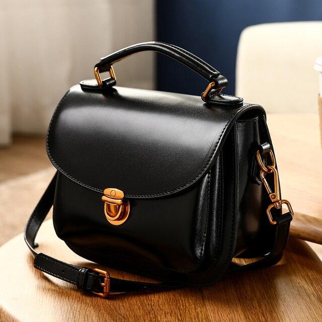 2018 Latest Women s Saddle Handbags Handmade Genuine Leather Purse Fashion Ladies  HandBag Cow Skin Shoulder Female 9ffe7fdf7f57