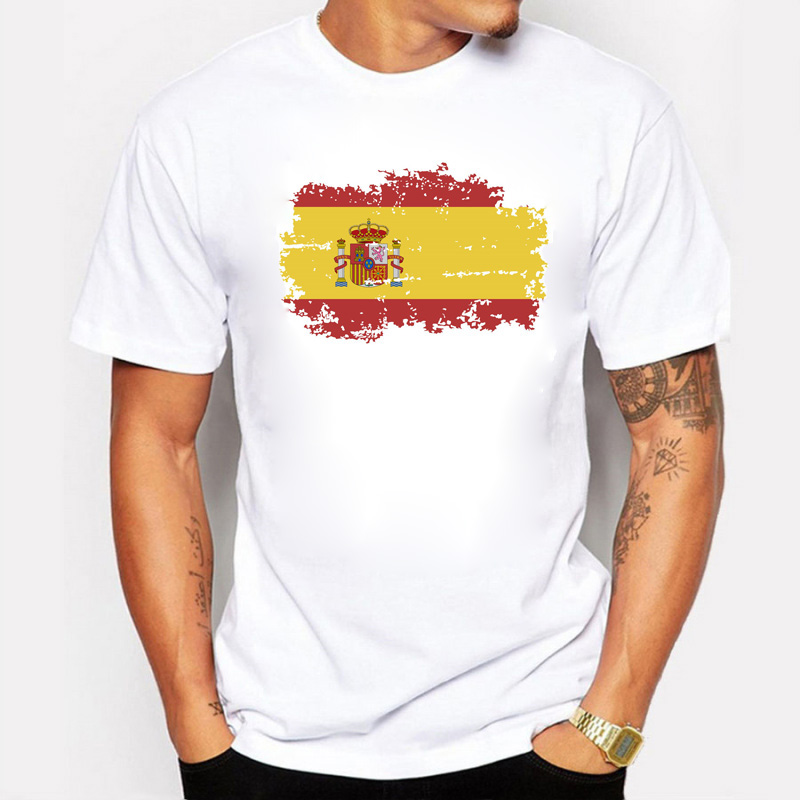 BLWHSA Spain National Flag   T     shirts   For Men Fashion Short Sleeve Nostalgic Spain Fans Summer Games Cheer   T  -  shirts