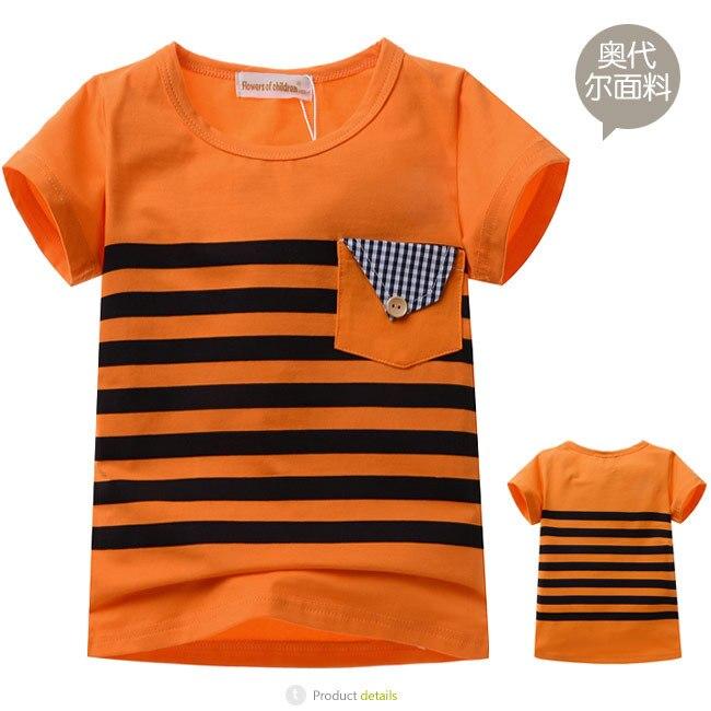 2014 new baby boys girls orange striped short sleeve t shirt