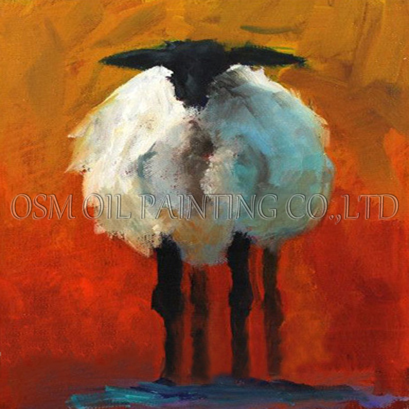 High Skills Artist Hand-painted High Quality Modern Abstract Sheep Oil Painting on Canvas Funny Animal Sheep Oil Painting