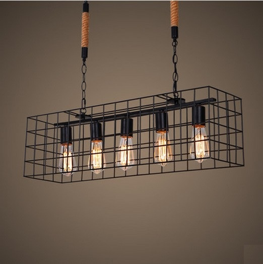 American Loft Style Hemp Rope Droplight Edison Pendant Light Fixtures For Dining Room Hanging Lamp Vintage